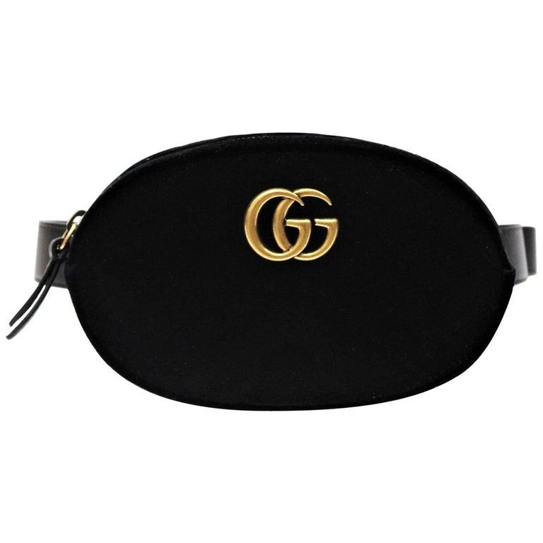 Gucci GG Marmont Black Velvet Belt Bag