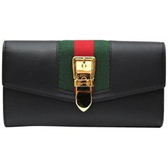 Gucci Sylvie Black Leather Continental Wallet