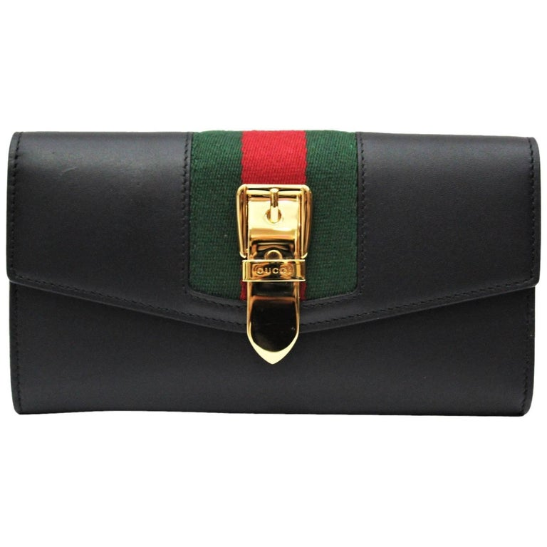 4f9450f306832d Gucci Sylvie Black Leather Continental Wallet at 1stdibs