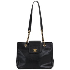 1990's Chanel Black Caviar Leather Large Shoulder Tote Bag
