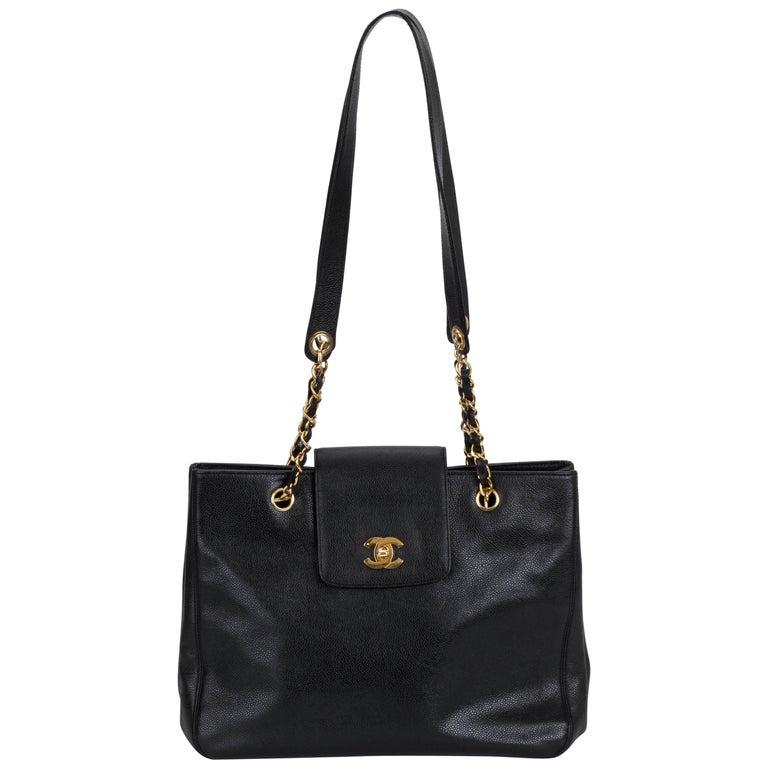 1990's Chanel Black Caviar Leather Large Shoulder Tote Bag