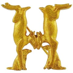 Hermes Vintage Gold Toned Twin Rabbit H Brooch