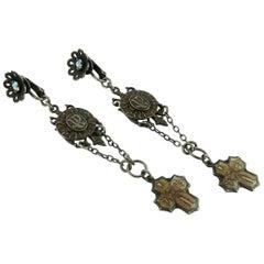 Jean Paul Gaultier Scapular Charm Gothic Cross Dangling Earrings
