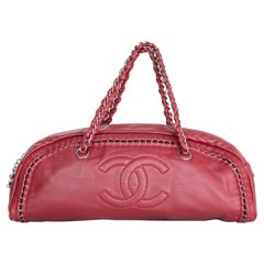 Chanel Red Lambskin Small Luxe Ligne CC Logo Bowler Bag