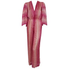 1970's Pauline Trigere Rose Pink Striped Ombré Silk Low-Cut Plunge Jumpsuit