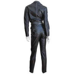 1990s Gianni Versace Leather Motorcycle Jacket and Pants With Chains