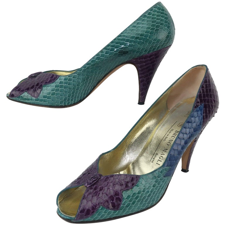 C.1980 Bruno Magli Multi Color Snakeskin Peep Toe Shoes For Sale
