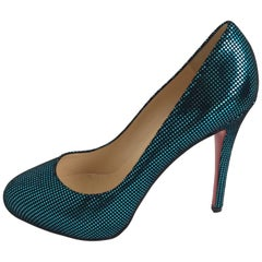 Christian Louboutin Metallic Green Imprinted Suede Round-Toe Pump Sz 40.5/Us10.5