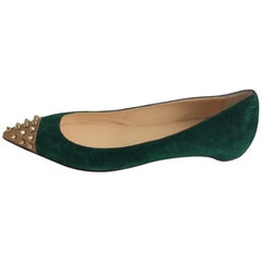 Christian Louboutin Green Suede Gold Geo-Spiked Pointed-Toe Flat Sz41/Us11