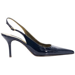 Blue Dolce & Gabbana Patent Leather Slingback Pumps