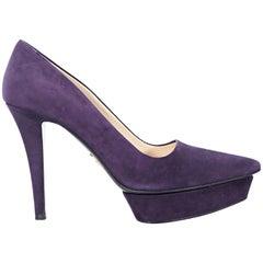 Purple Prada Suede Platform Pumps