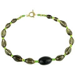 Gemjunky Smoky Quartz Nugget and vivid green Czech Beads Necklace