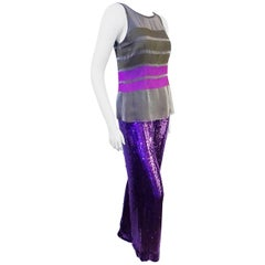 Neil Bieff Couture hand Beaded silk top and pants outfit