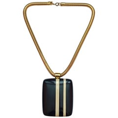 Lanvin Navy and White Striped Pendant Necklace 1970s