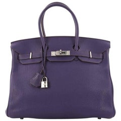 Hermes Iris Togo with Palladium Hardware 35 Birkin Handbag