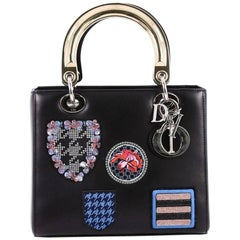 Christian Dior Lady Dior Handbag Patch Embellished Leather Medium