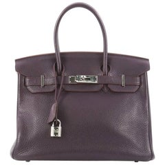 Hermes Birkin Handbag Raisin Clemence with Palladium Hardware 30
