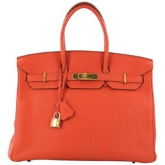 Hermes Birkin Handbag Feu Togo with Gold Hardware 35