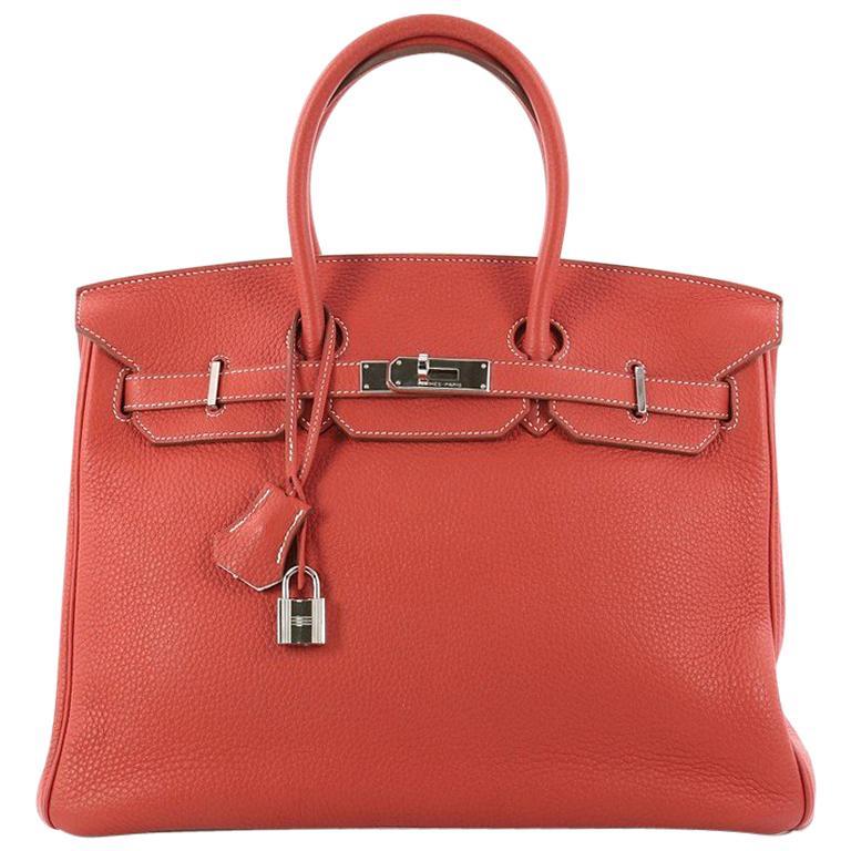 e85c50cecdc Hermes Eclat Birkin Handbag Sanguine and White Clemence with Palladium  Hardware