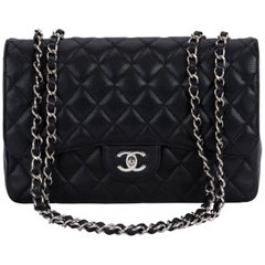 Chanel Black Caviar Single Jumbo Flap Bag