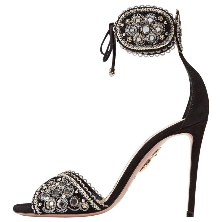 Aquazzura Black Gold Silver Suede Embroidered Evening Sandals Heels