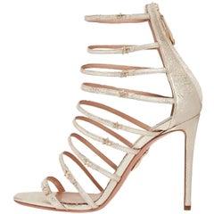 Aquazzura Gold Leather Gladiator Cage Evening Sandals Heels