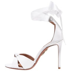 Aquazzura White Canvas Tie Up Ankle Bow Evening Sandals Heels
