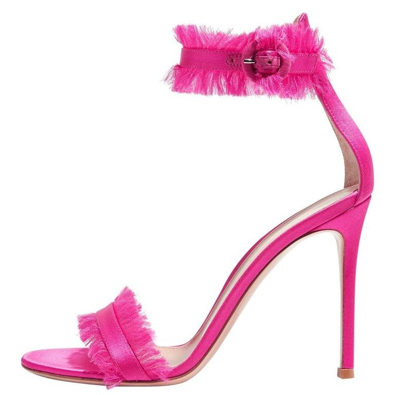 Gianvito Rossi Hot Pink Satin Evening Sandals Heels