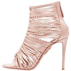 Aquazzura Rose Gold Leather Gladiator Evening Sandals Heels