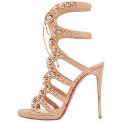 Christian Louboutin Nude Leather Rose Gold Gladiator Sandals Heels