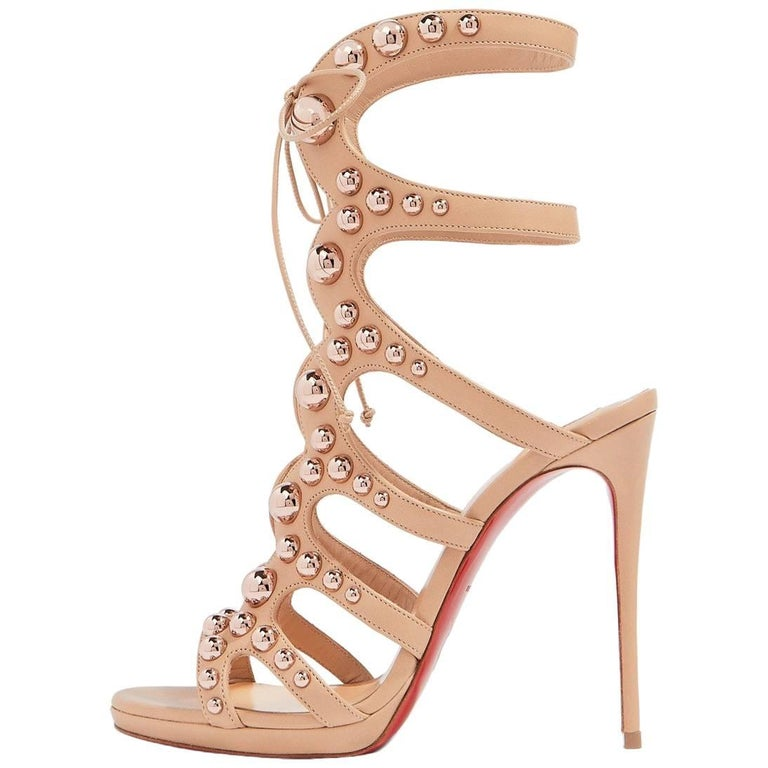 3640b928d799 Christian Louboutin Nude Leather Rose Gold Gladiator Sandals Heels For Sale