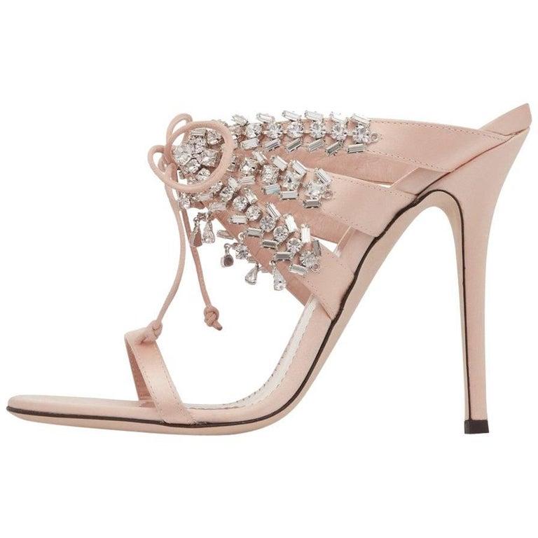 Giuseppe Zanotti Blush Nude Crystal Slide in Mules Sandals Heels