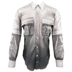 Alexander McQueen Men's Grey and White Print Effect Cotton Long Sleeve Shirt