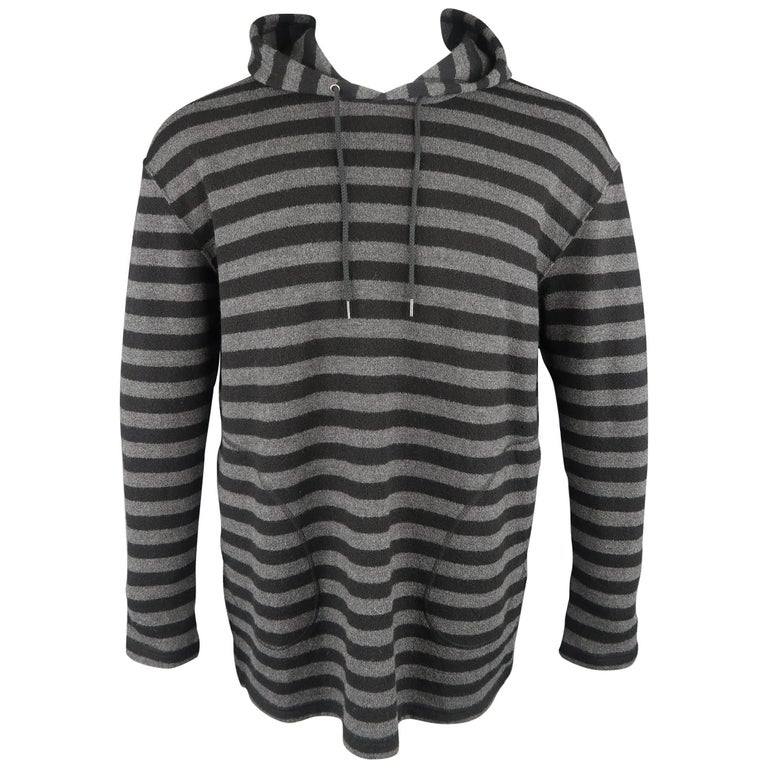 Junya Watanabe Men's Black and Grey Stripe Wool Pullover Hoodie