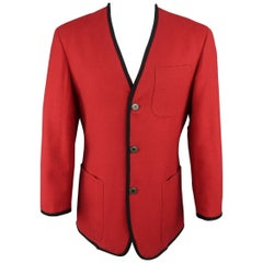 Jean Paul Gaultier Men's Red and Black Wool V Neck Collarless Jacket