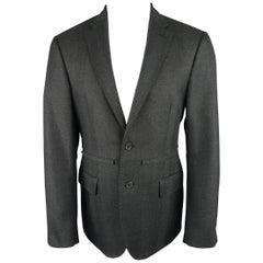Raf Simons Charcoal Herringbone Textured Wool Flap Sport Coat