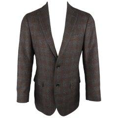 Men's Z ZEGNA 38 Regular Gray & Orange Glenplaid Wool / Mohair Sport Coat