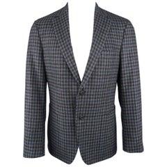 Men's SAMUELSOHN 40 Regular Grey & Navy Plaid Wool / Cashmere 2 Button Sport Coa