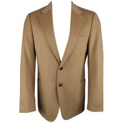 Prada Tan Camel Hair Notch Lapel Jacket Sport Coat