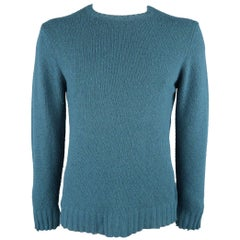 Men's MAISON MARTIN MARGIELA Size L Teal Knitted Wool Blend Crewneck Sweater