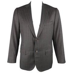 Men's ISAIA 42 Regular Dark Gray & Brown Striped Wool Sport Coat