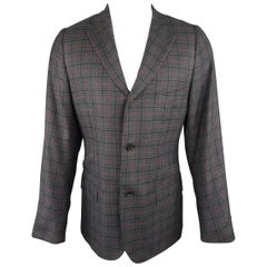 Men's ISAIA 42 Long Grey & Purple Plaid Cashmere Notch Lapel Sport Coat