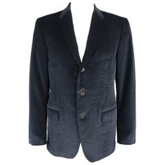 Salvatore Ferragamo Men's Navy Corduroy Notch Lapel Sport Coat
