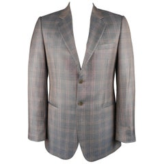 Men's GIORGIO ARMANI 42 Long Grey & Orange Window Pane Wool / Silk Sport Coat