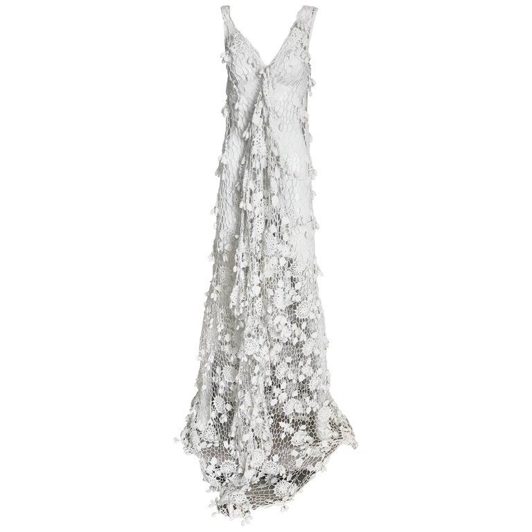 White Cotton Crochet Gown, 1970s