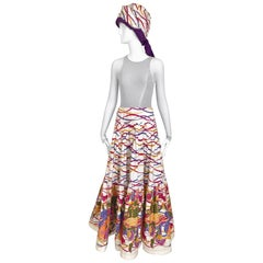 Saint Laurent Multi Color Cotton maxi Skirt and Turban set
