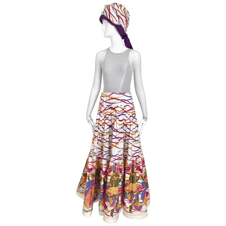 Saint Laurent Multi Color Cotton maxi Skirt and Turban set