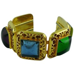 Philippe Ferrandis Vintage Multicolored Glass Cabochons Cuff Bracelet
