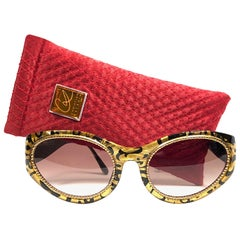Christian Lacroix France Vintage Black and Gold Baroque Sunglasses, 1980