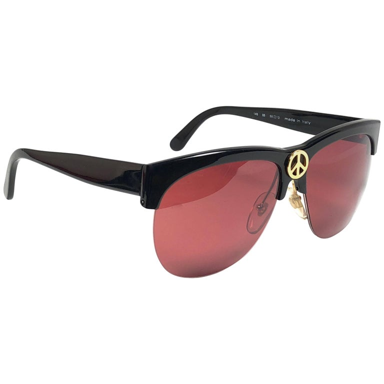 76548be922 Moschino By Persol Vintage Black Peace Sunglasses
